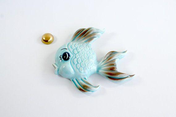 Vintage Fish Ceramic Plaque Set Big Eye Bubble Mid Century Bathroom