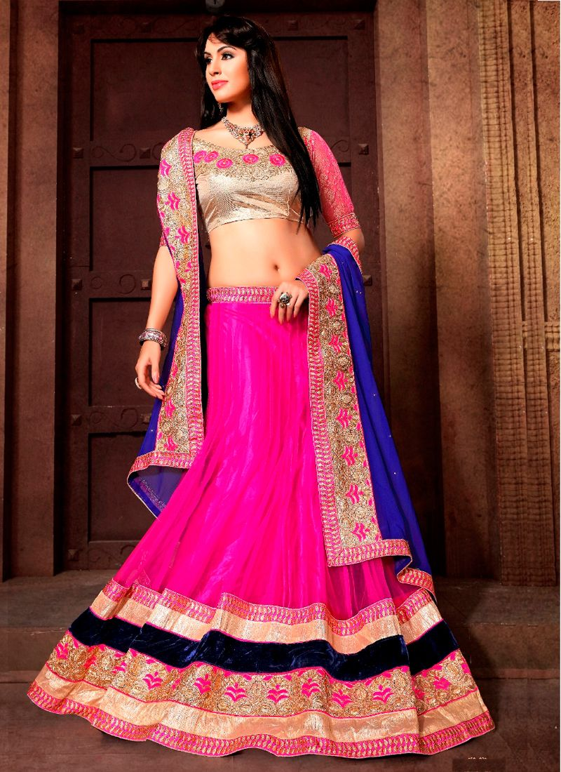Pink Net Wedding Wear Embroidered Work Lehenga Choli | Trajes baile ...