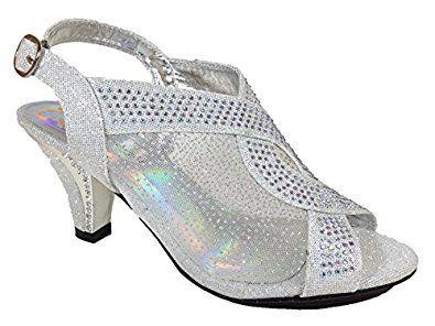 d19d46418491e Amazon.com   Womens Open Toe Mid Heel Wedding Rhinestone Sandal ...