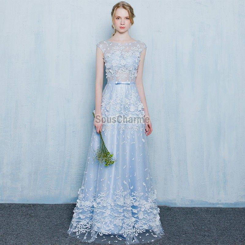 Robe longue mariage 2017 bleu ciel en tulle dentelle for Robes bleu ciel pour un mariage
