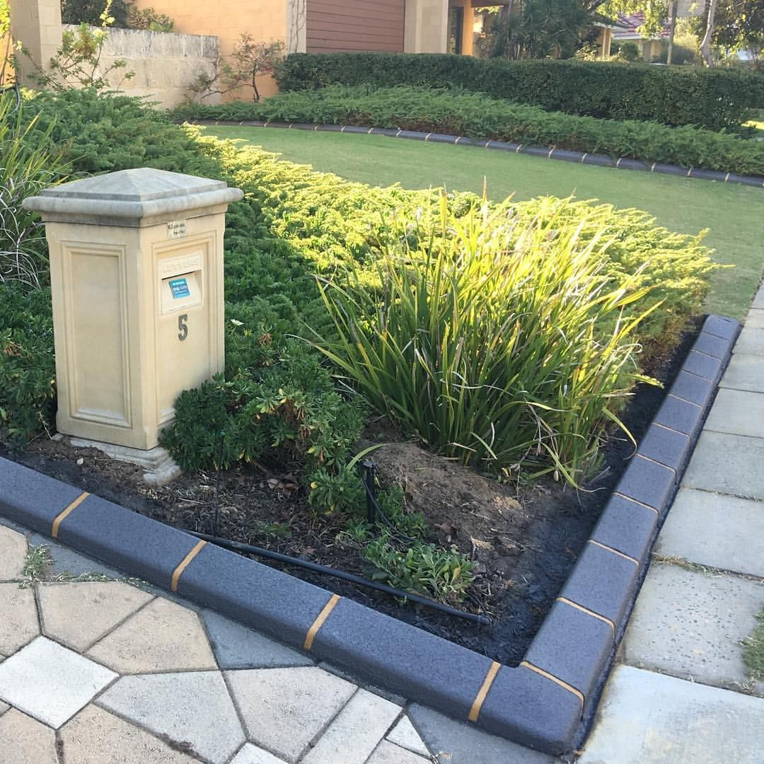Our Continuous Garden Edging Kerbing With Our Grey Brick Glaze