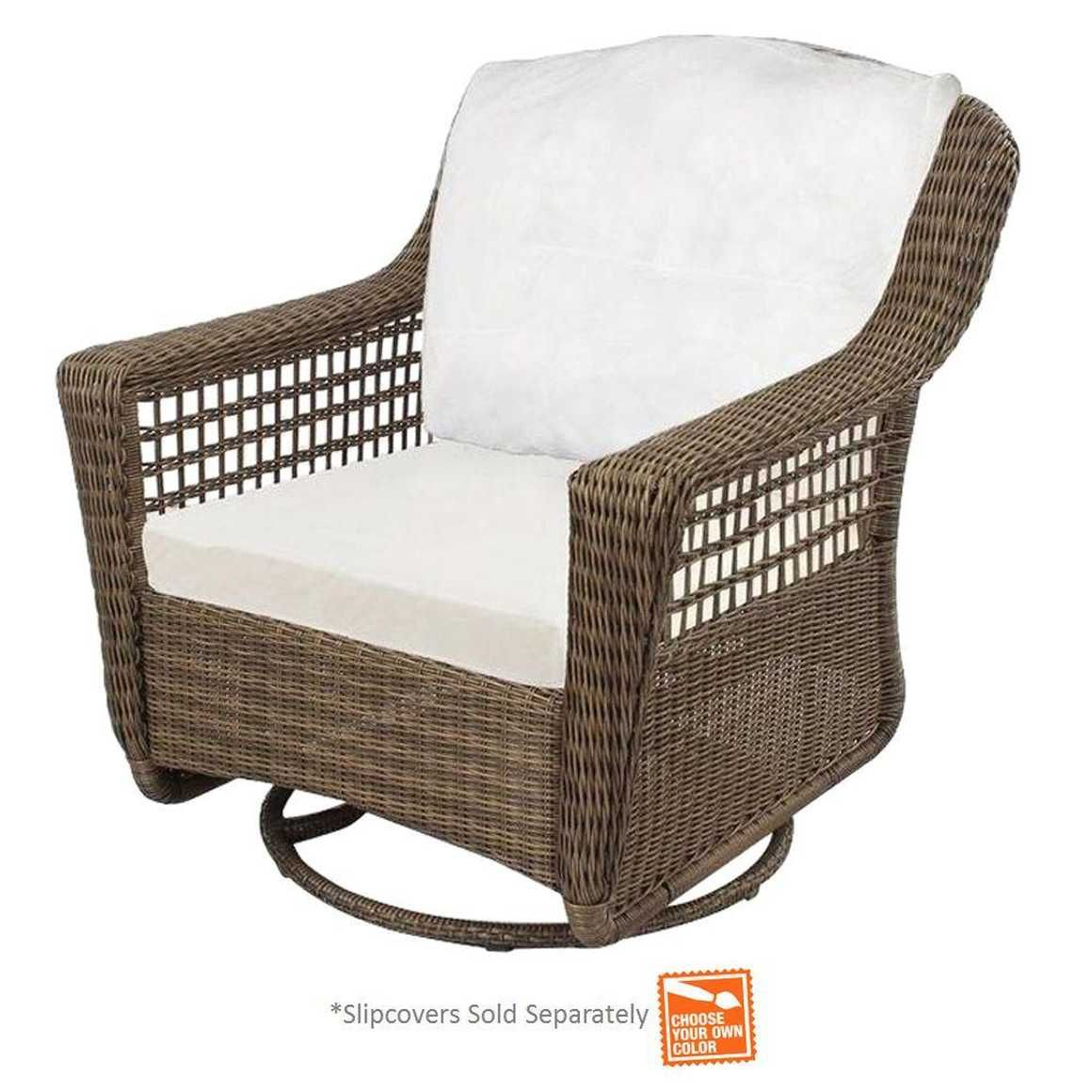 Hampton Bay Spring Haven Grey Wicker Outdoor Patio Swivel Rocker Chair With Cushions Included Choose Your Own Color Home Depot Outdoor Chair Cushions Patio Cushions Outdoor Wicker Patio Furniture