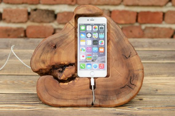 Beautiful And Unique Iphone Station With Unusual Shape Handmade From Gorgeous Elm Wood The Stand Wooden Iphone Stand Wooden Docking Station Wood Iphone Dock