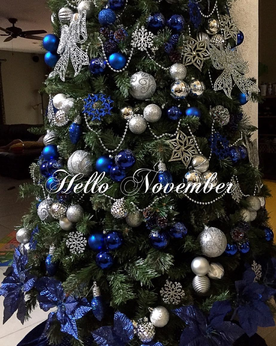 Blue And Silver Christmas Decorations Silver Christmas Decorations Blue Christmas Tree Decorations Christmas Tree Themes