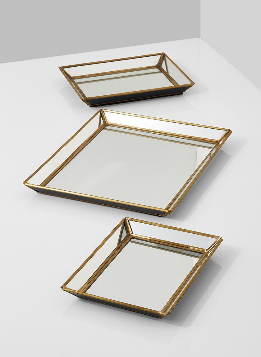 Mirrored trays with brass edges mirror tray