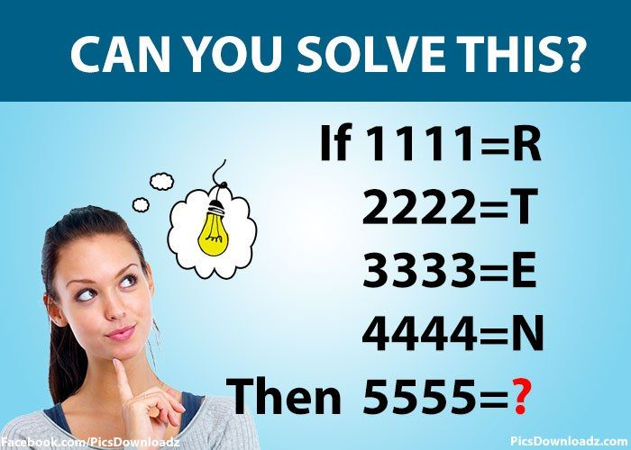 IF 1111=R Then 5555=? Math Puzzles Only for Genius With Answer ...