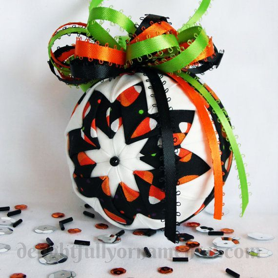 new halloween fabric quilted ornament by delightfullyornament 2000 - Halloween Christmas Ornaments