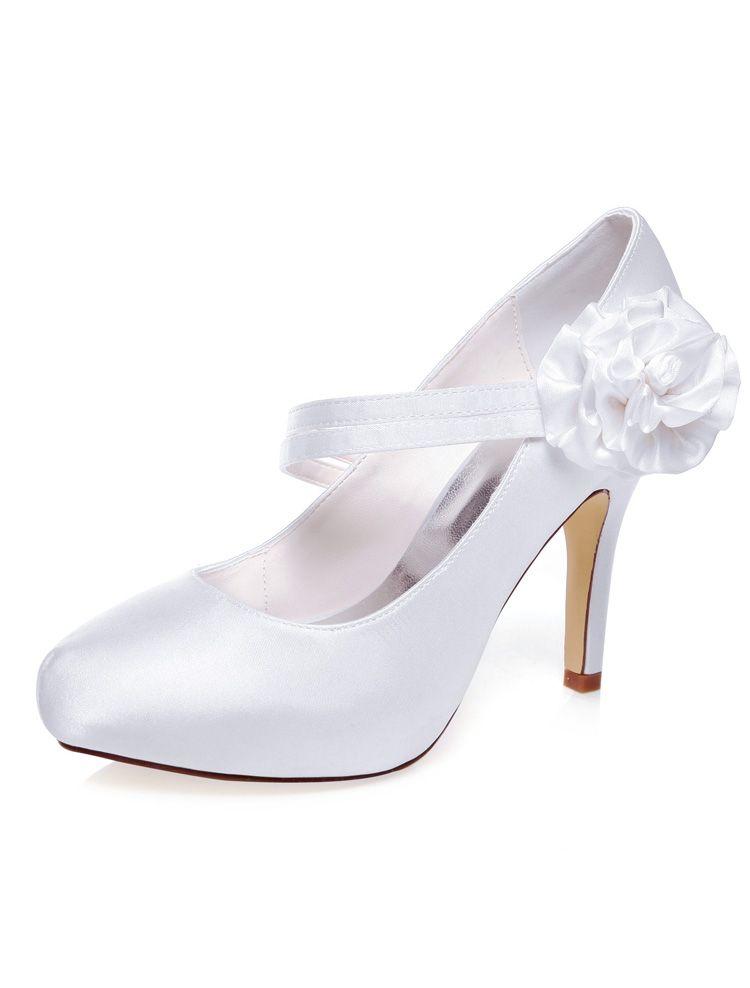 classique chaussures mari e satin escarpins blanc talon aiguille 10cm talon haut chaussures de. Black Bedroom Furniture Sets. Home Design Ideas
