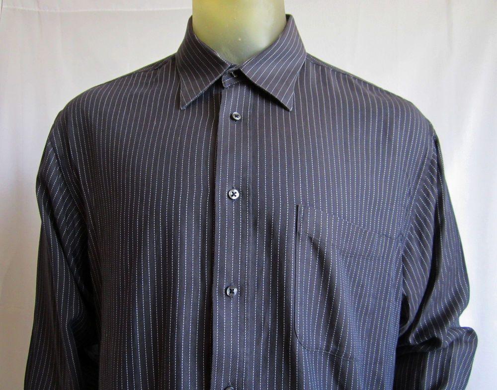 Nicole Miller New York Mens LS Shirt Charcoal Brown Pinstripe 16 1/2  34/35 #NicoleMiller