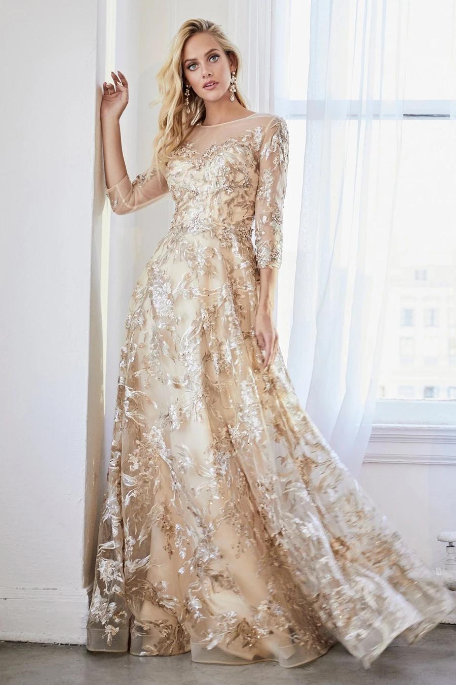 Applique Long 3 4 Sleeve Dress By Cinderella Divine Cr855 In 2021 Gold Formal Dress Cinderella Divine Champagne Gold Dress [ 1350 x 900 Pixel ]