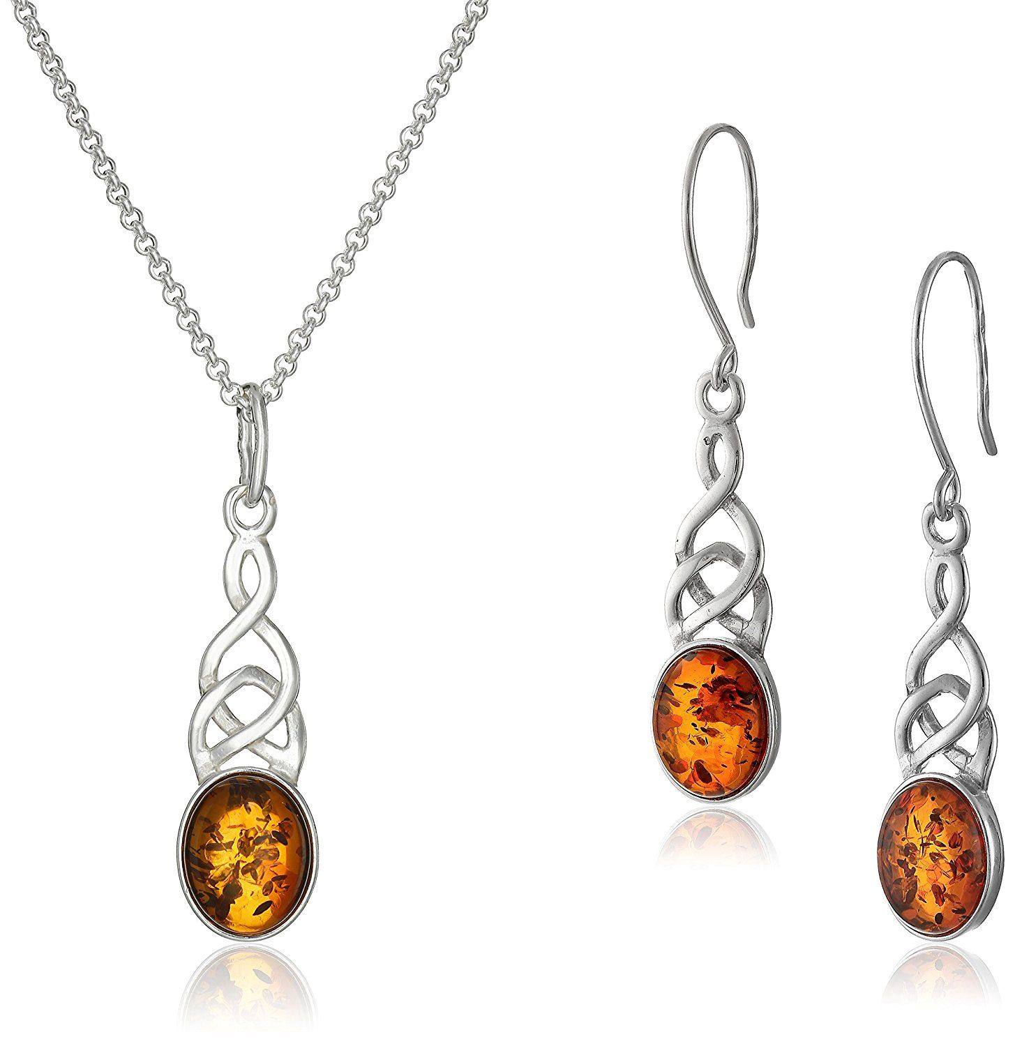 Honey amber sterling silver celtic earrings and pendant necklace