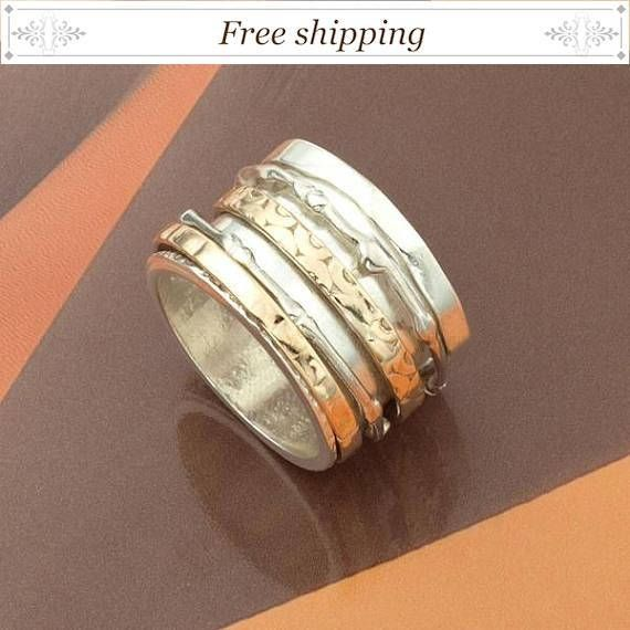 Motion ring, movable rings jewelry, wide Spinner ring, Israeli ring ...