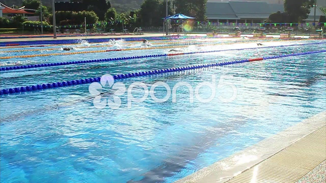 swimmers training in outdoor olympic size swimming pool lens flare slow motion video