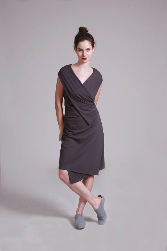 02b2dd65b1 Wrap Dress, Gray Summer Dress, Sleeveless, Knee Length Dress, Sexy Dress,  Cotton Jersry, Sleeveless Wrap Dress, Casual