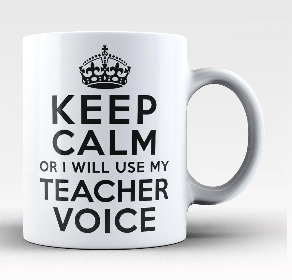 Keep Calm And Teach On Teacher School Lover Funny Ceramic White Coffee Mug