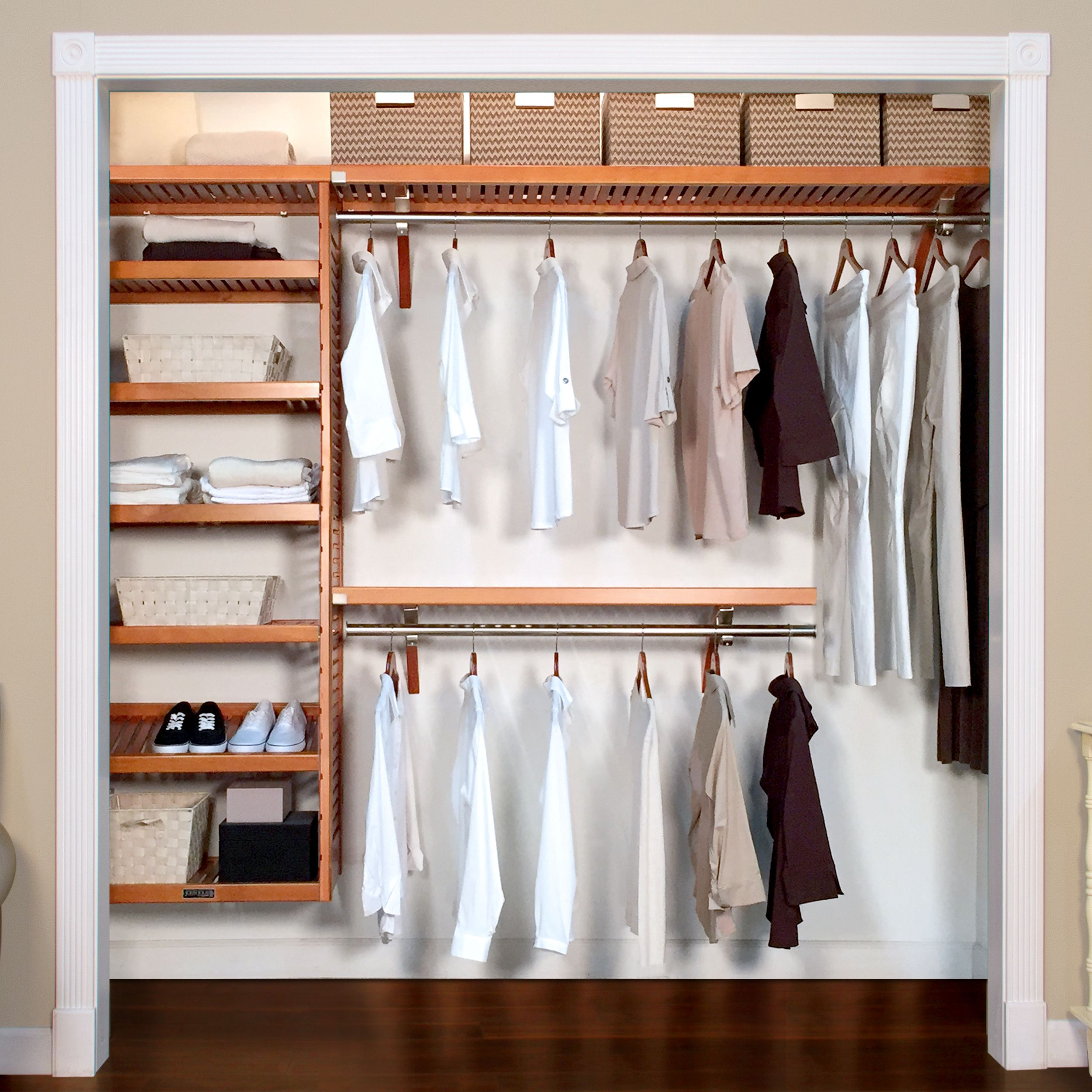 16in deep woodcrest deluxe organizer closet system