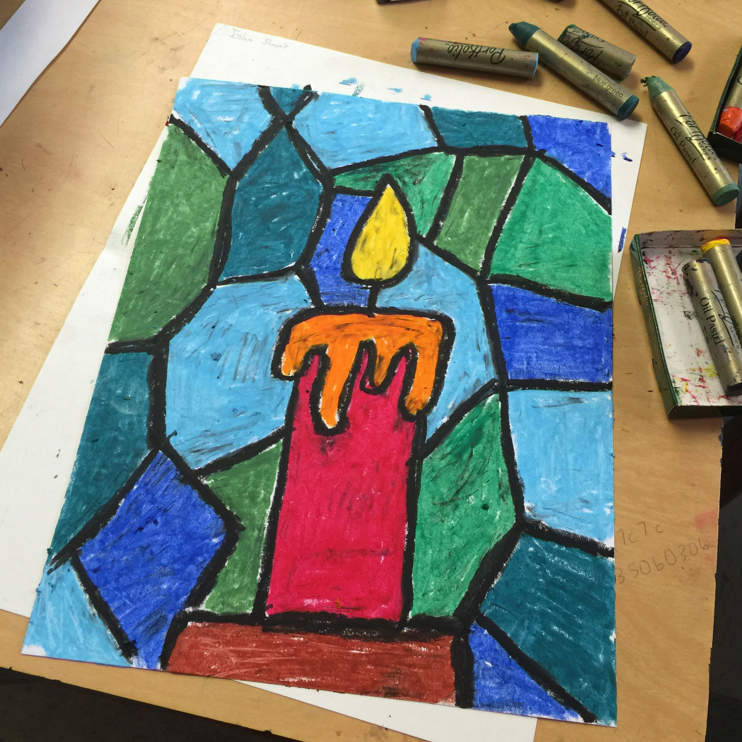 Stained Glass Candle Drawing Christmas Art Projects Winter Art