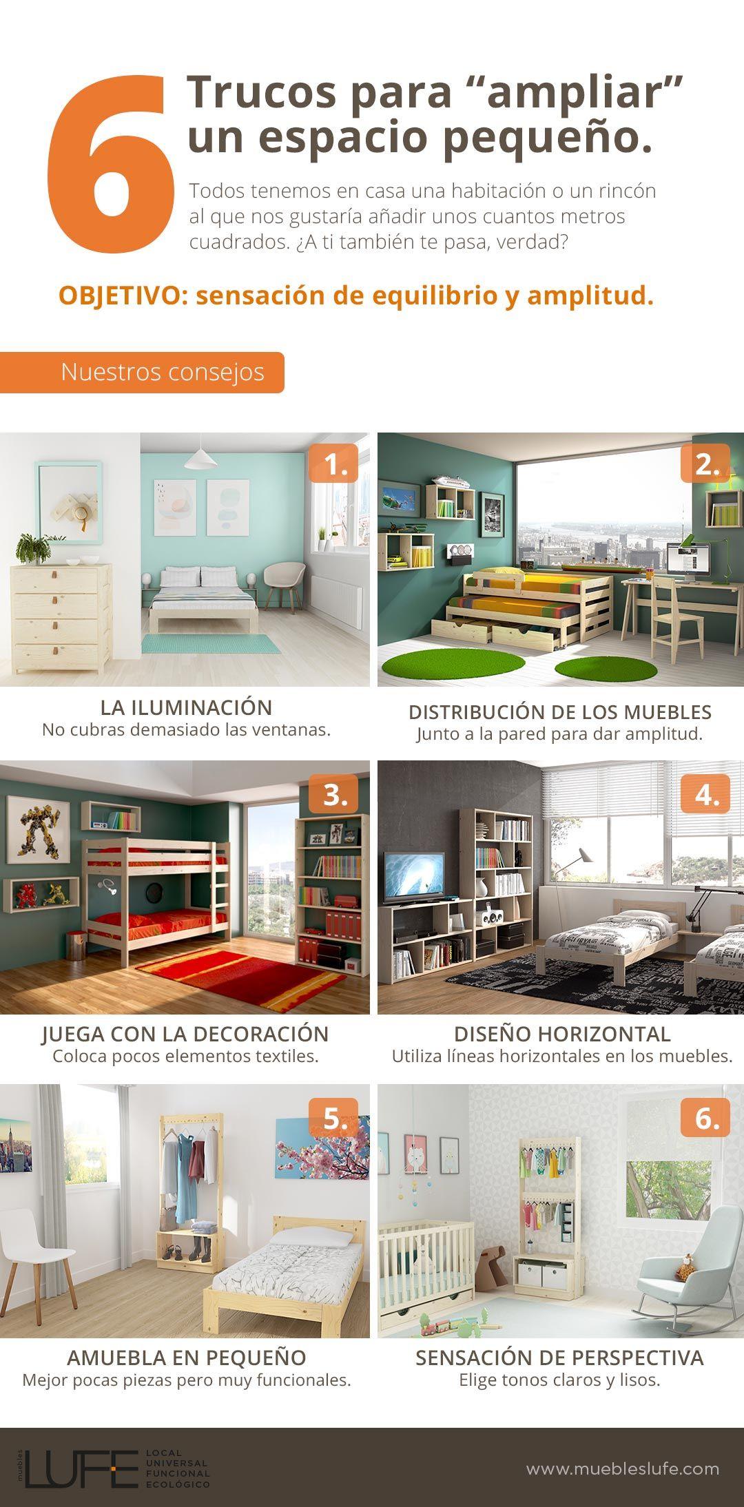 6 trucos para ampliar un espacio peque o infograf a for Diseno de interiores para espacios pequenos
