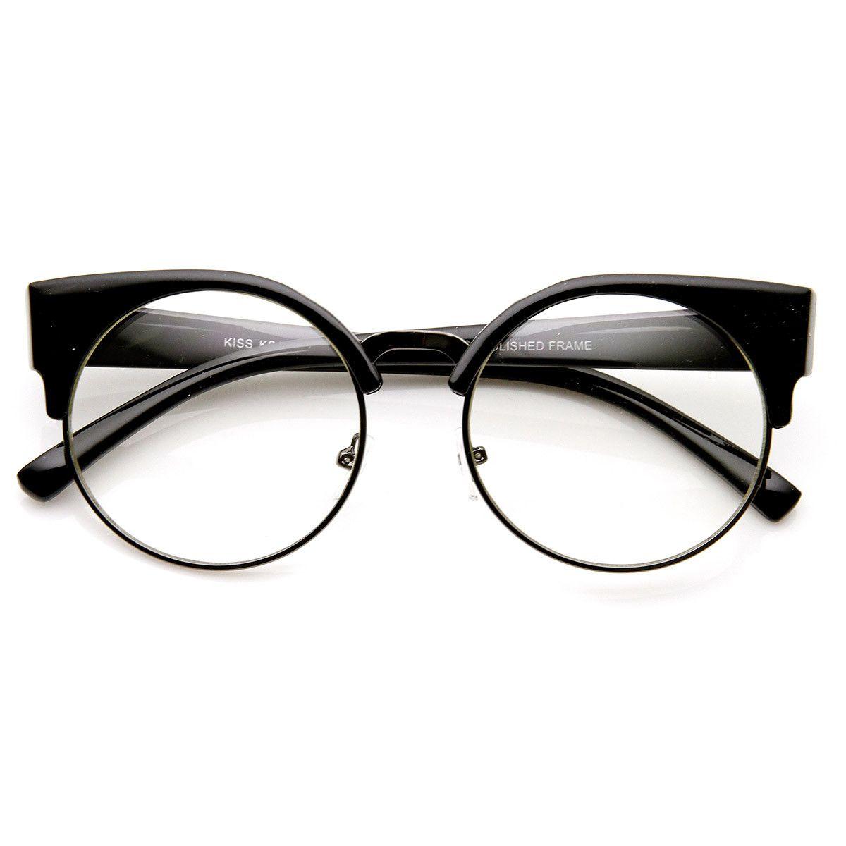 1b28617137 Womens Half Frame Semi-Rimless Clear Lens Cat eye Round Glasses ...