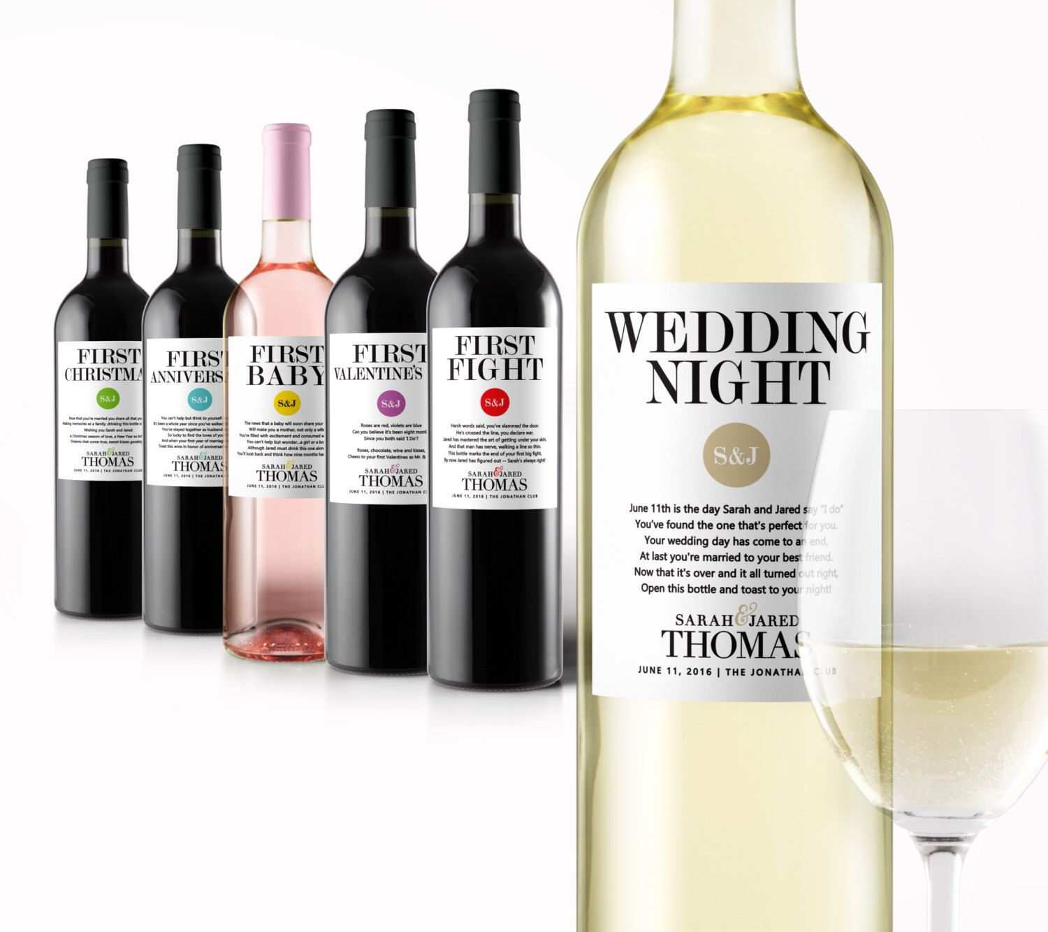 Wedding Milestone Wine Labels Fun Gifts Engagement Gift Celebrating Marriage Firsts