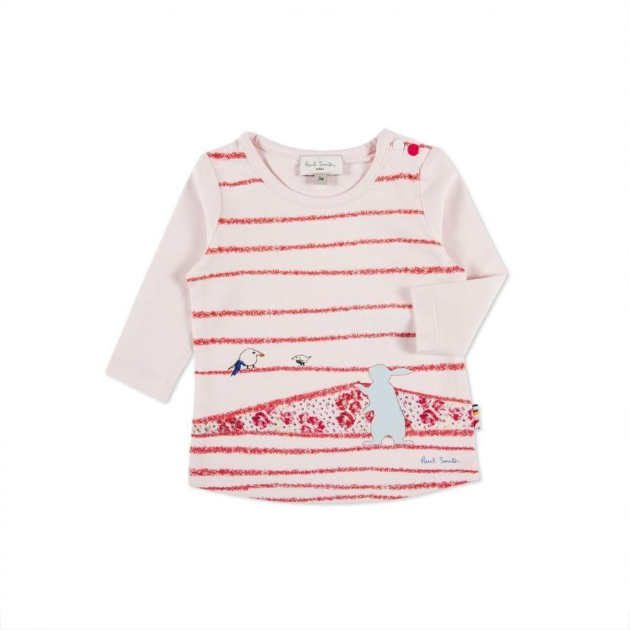 Paul Smith Junior | Baby Girls' Pink Crayon Stripe T-Shirt