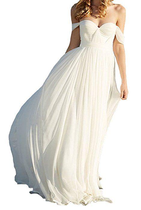 YASIOU Hochzeitskleid Damen Lang A Linie Weiss Chiffon Prinzessin ...