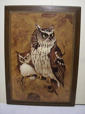Vintage Home Interior Homeco Richard Screech Owls Picture 22 1 2