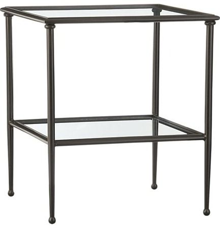 Superbe Metal And Glass Side Table