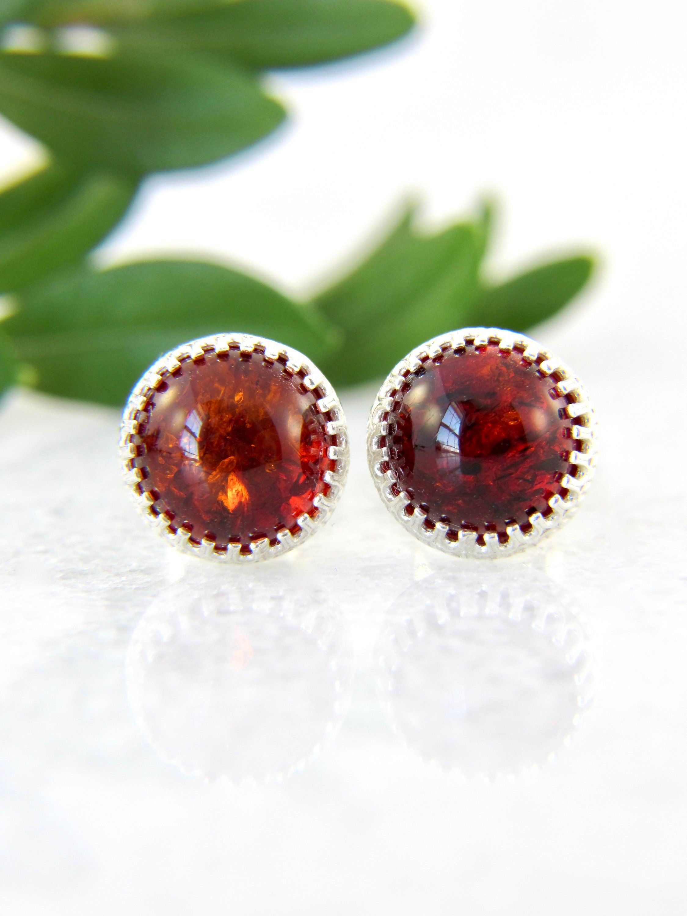 red amber stud earrings Baltic Amber Stud Earrings 925 Sterling silver Natural Baltic Amber Jewelry