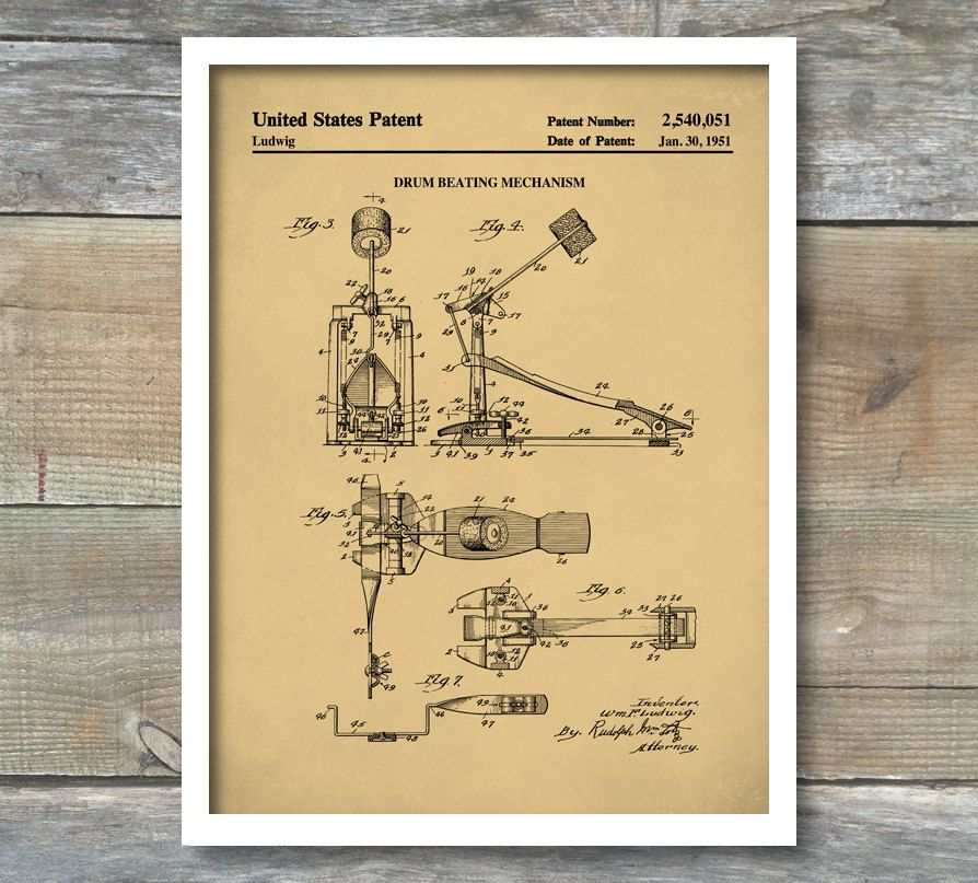Bass Drum Pedal Patent, Patent Print, Wall Decor, Music Poster ...