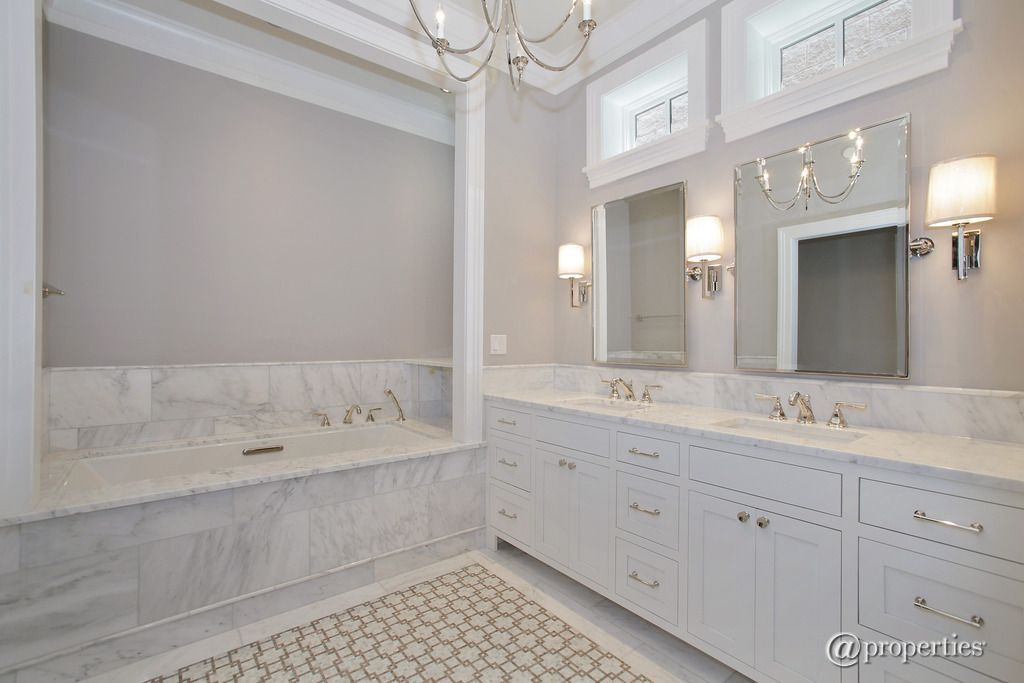Traditional Master Bathroom With Complex Marble Tile Floors Crown Brilliant Bathroom Crown Molding Review