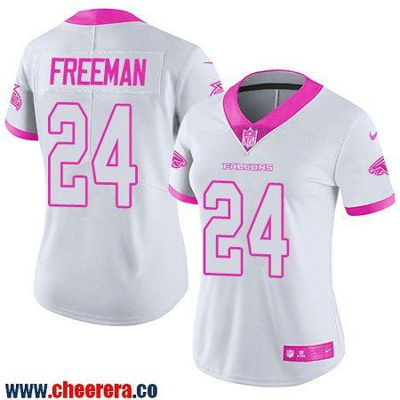 womens atlanta falcons 24 devonta freeman white pink 2016 color rush fashion nfl nike limited