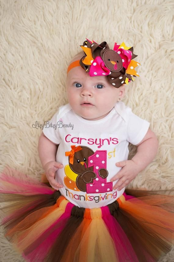Girls First Thanksgiving Outfit - Thanksgiving Birthday Outfit - Baby Girls Turkey Headband TUTU - Pink Orange Yellow Fall Colors - Turkey #thanksgivingoutfit