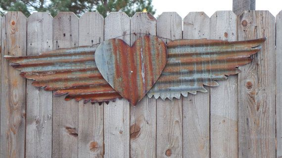 Up Cycled Old Corrugated Metal Wings With Heart Metal