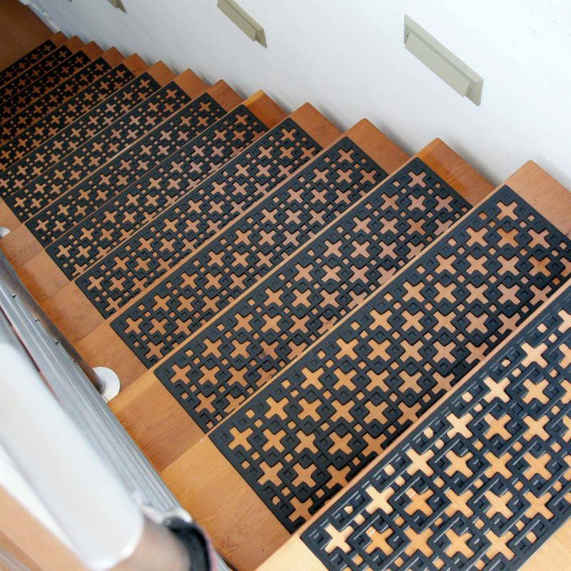 Exceptional Stars Recycled Rubber Step Stair Tread Mat Set