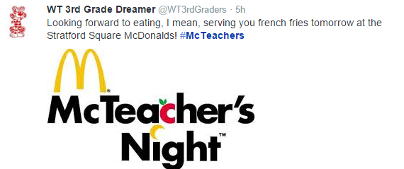 Kids need their 3rd grade teachers to discourage the fast food habit, not encourage it. #StopMcTeachersNights
