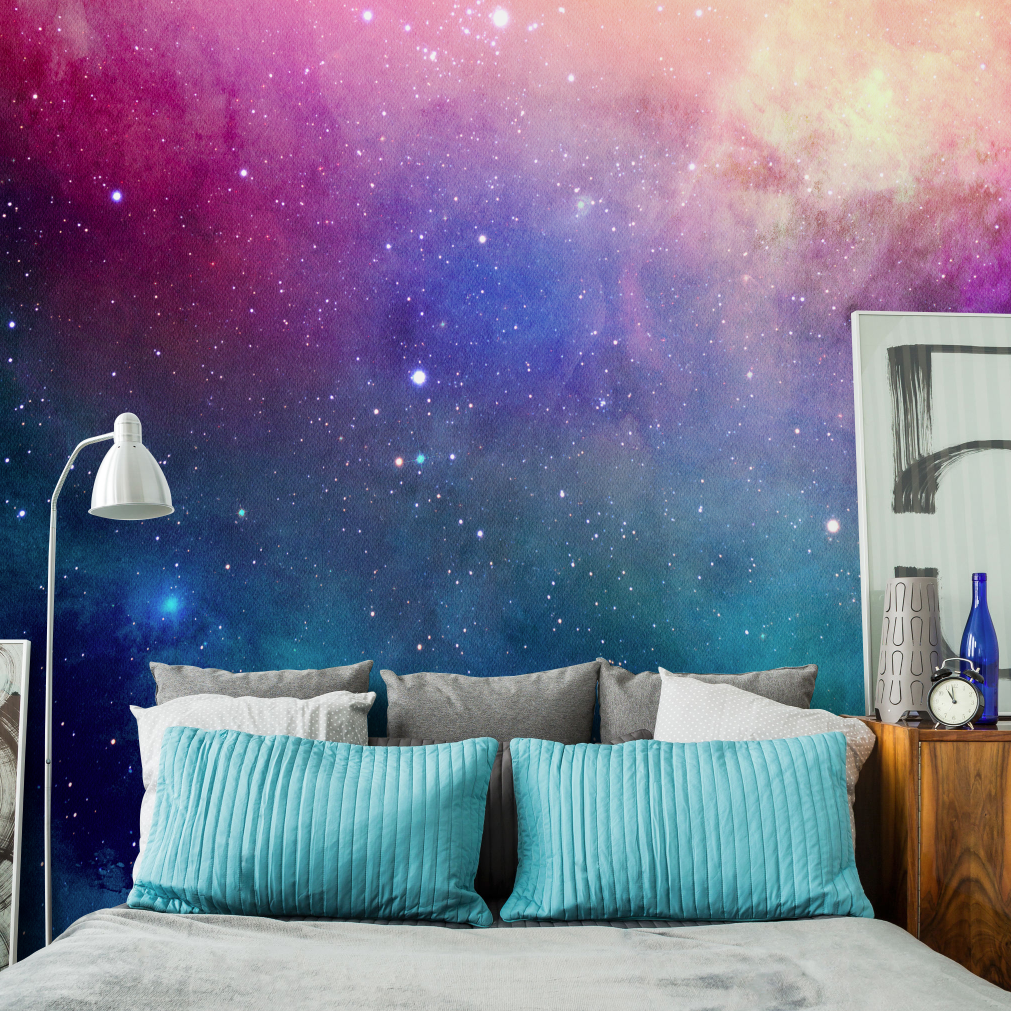 Water Color Galaxy Wall Mural Home Ideias Parede