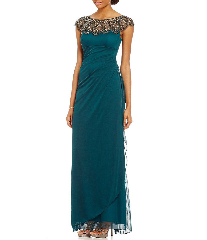 Neo emeraldxscape beaded illusion neck ruched gown slow cooker