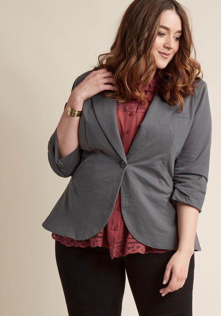 a6e3f9f083aa Fine and Sandy Blazer in Stone Velvet Blazer, Black Blazers, Modcloth, Plus  Size