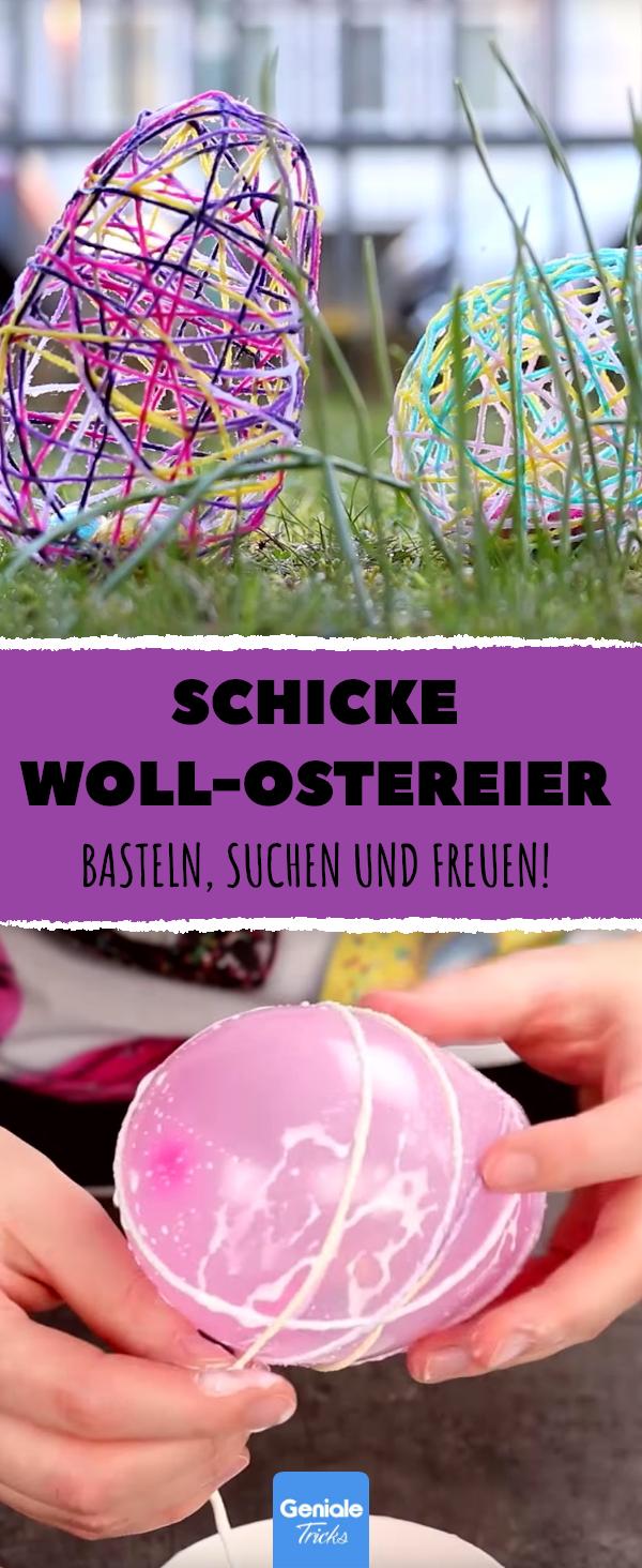 Die wichtigsten Zutaten für das schönste Osternest sind Wolle, ein Luftballon und eine Nadel. Alle Kinder werden diese Eier lieben! #frühlingsdekobasteln
