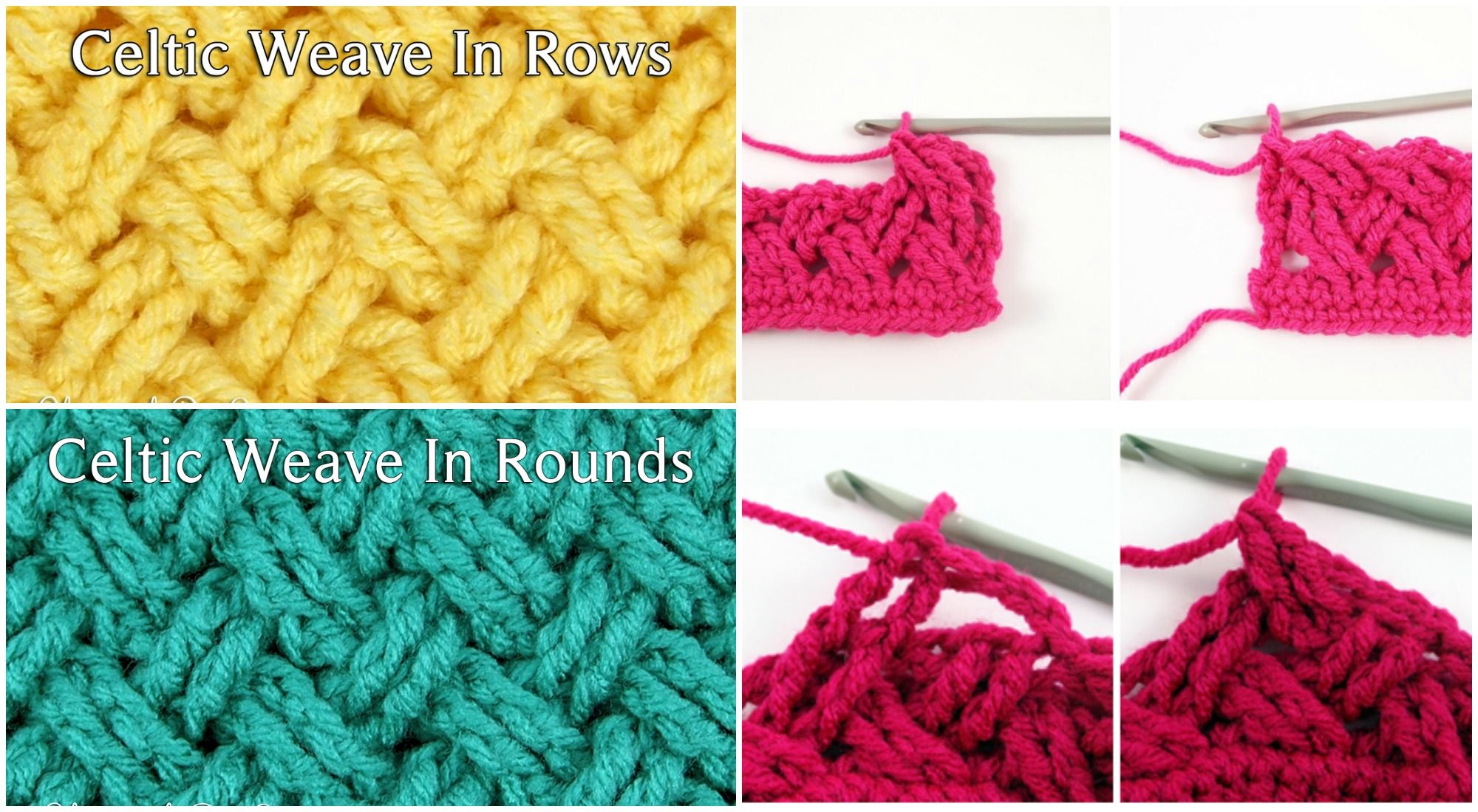 Crochet Celtic Stich in Rows and in Rounds | Crochet, Stitch and Blanket
