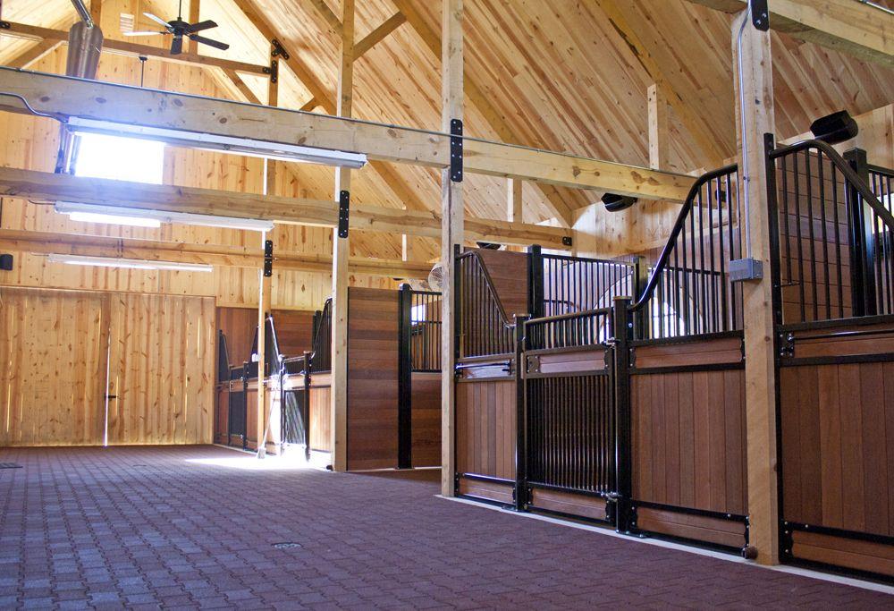 Horse stalls barn interior for Traditional barn kits