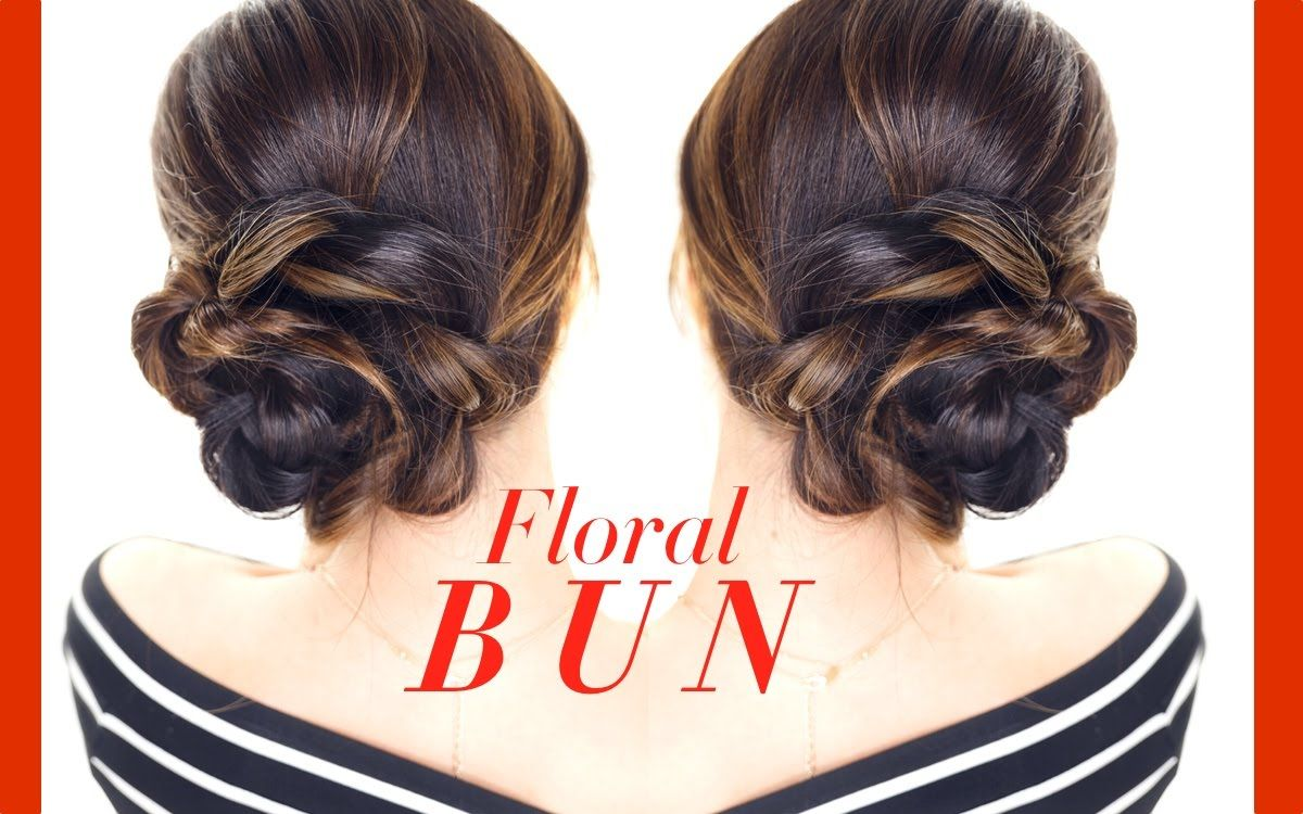 Side Bun Hairstyles Simple Floral Side Bun Hairstyle ☆ Easy Updo Hairstyles  Homecoming
