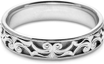 Tacori Mens Wedding Band With Hand Engraved Scroll Work 5 0mm