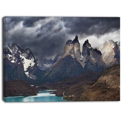 """DesignArt Torres Del Paine, Cuernos Mountains Photographic Print on Wrapped Canvas Size: 30"""" H x 40"""" W"""