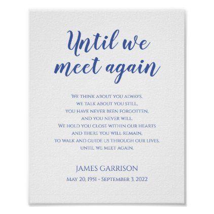 Until We Meet Again Blue Celebration Of Life Poem