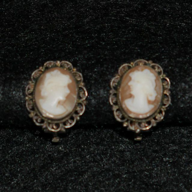 1abb3cc9f586e Vintage Silver Cameo Earrings, 800 Silver, Carved Shell, Victorian ...
