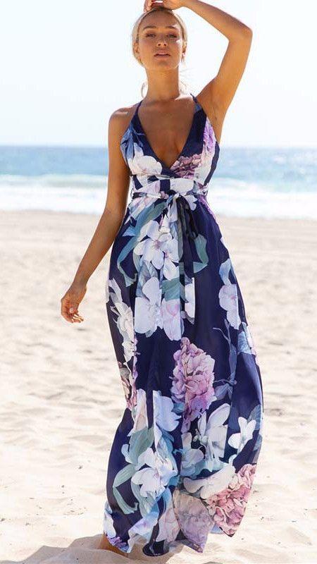 Sleeveless Deep V Neck Chiffon Criss Cross Open Back Floral Print Floor Length Maxi Dress Details Polyester Chiff Maxi Dress Floral Maxi Dress Maxi Dress Navy
