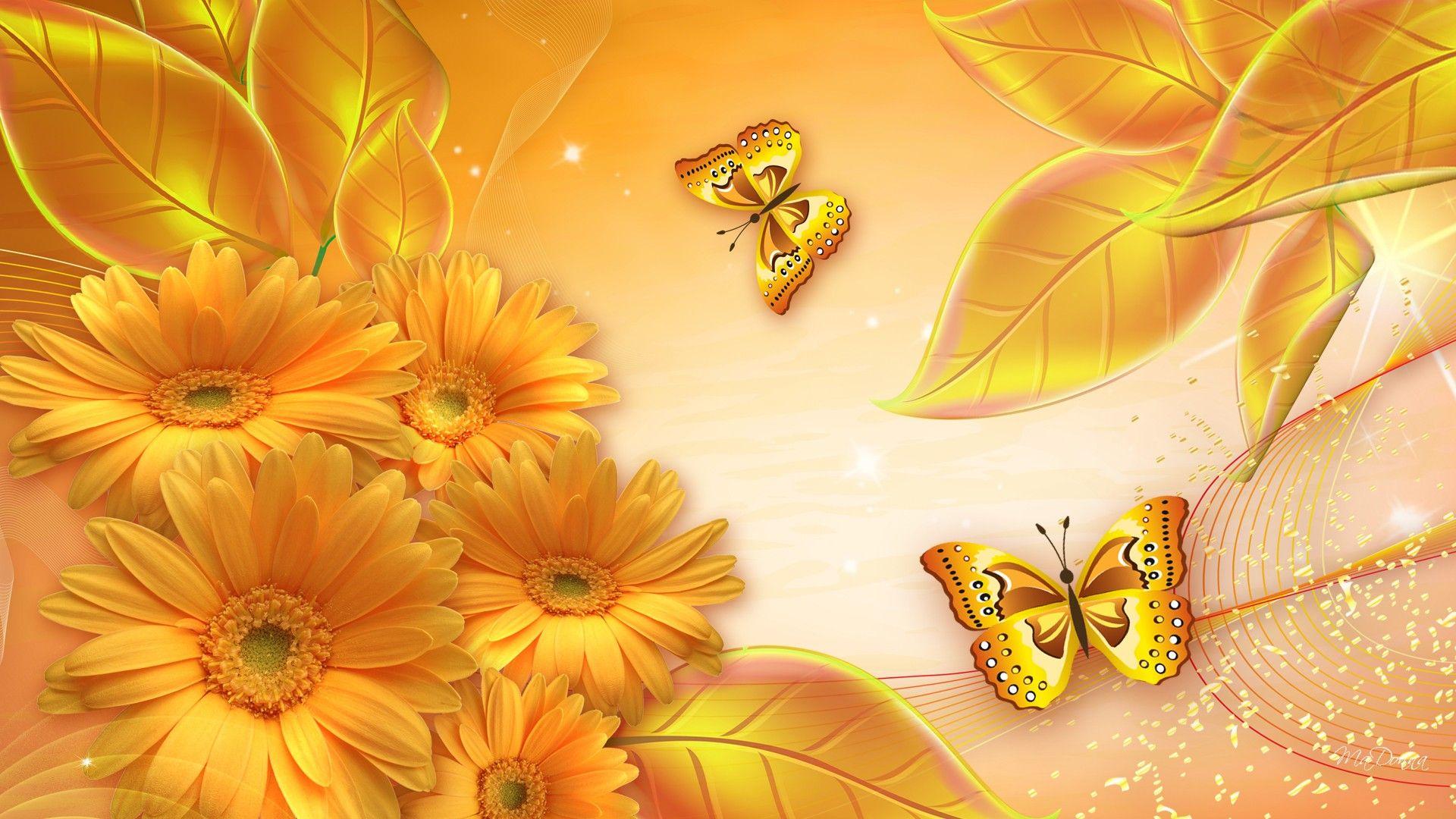 Gold flowers detail for nature flower gold wallpaper for 3d wallpaper gold