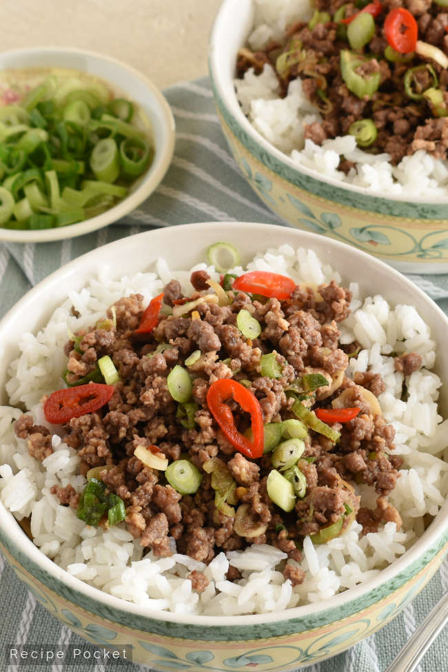 Korean Ground Beef Rice Bowl Recipe In 2020 Asian Recipes Beef Rice Bowl Recipe Ground Beef Rice